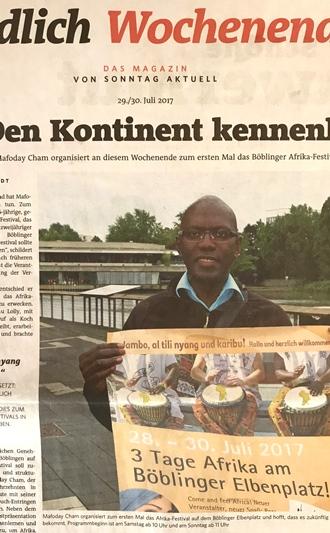 Ausschnitt des Artikels über Mafoday Cham und das Afrika-Festival Böblingen