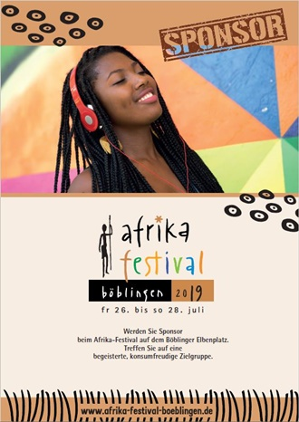 Sponsoring-Angebot beim Afrika-Festival Böblingen 2020